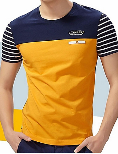 cheap Men's Tees & Tank Tops-Men's Going out Weekend Plus Size Cotton T-shirt - Striped / Color Block Patchwork Round Neck Blue XXL / Short Sleeve