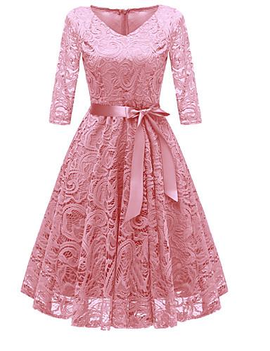 hesapli Vintage Kraliçesi-Kadın's Parti Dışarı Çıkma Vintage 1950'ler A Şekilli Elbise Dantel Fiyonklar V Yaka Diz-boyu Gül kurusu