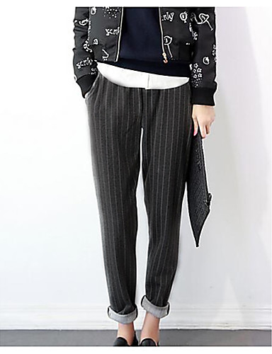 Pentru femei Activ Mărime Plus Size Bumbac Harem Pantaloni - Franjuri, Mată Albastru & Alb