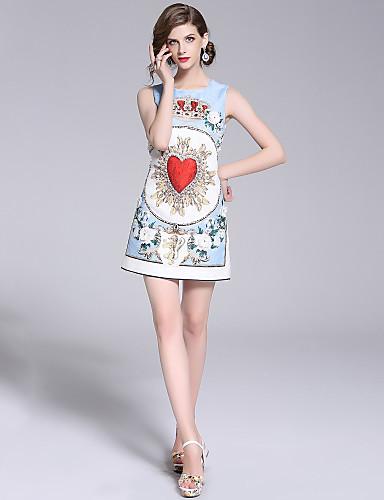 Žene Ulični šik A kroj Haljina - Perlice, Cvjetni print Iznad koljena