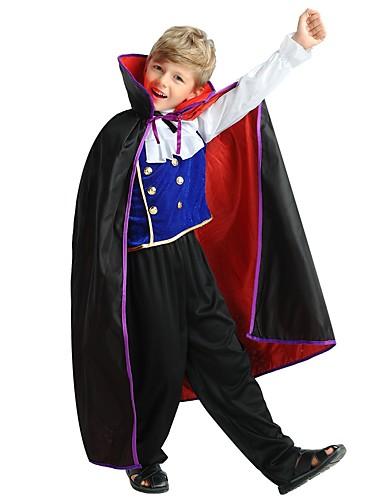 billige Barnekostymer-Cosplay Kostume Barne Gutt Halloween Halloween Karneval Barnas Dag Festival / høytid Polyester Svart Karneval Kostumer Ensfarget Halloween