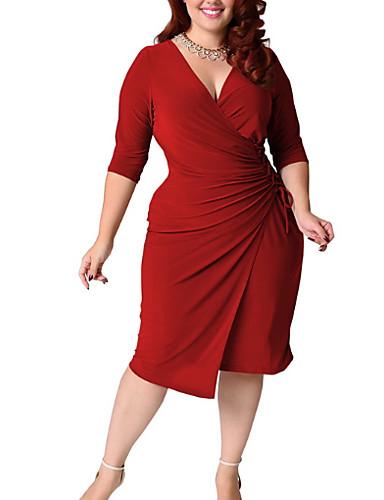 voordelige Grote maten jurken-Dames Standaard Slank Schede Jurk - Effen, wrap Diepe V-hals Tot de knie