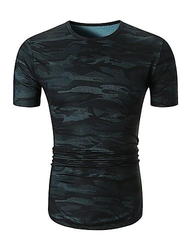 男性用 Tシャツ ベーシック ラウンドネック カモフラージュ コットン ブルー L / 半袖 / 夏