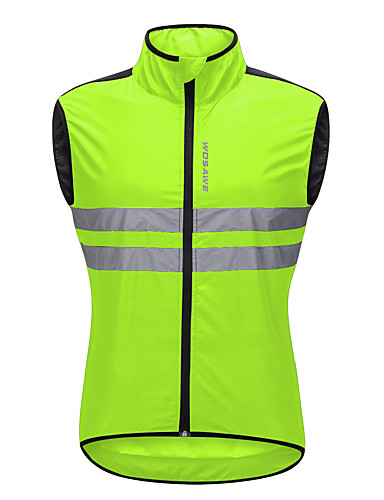 cheap Cycling Clothing-WOSAWE Men's Sleeveless Cycling Vest - Green Black Orange Solid Color Bike Vest / Gilet Windbreaker Jersey Windproof Reflective Strips Back Pocket Sports Polyster Mountain Bike MTB Road Bike Cycling
