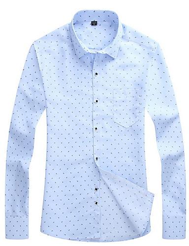 お買い得  メンズトップス-男性用 ワーク シャツ ビジネス レギュラーカラー 水玉 / 波点 / 長袖