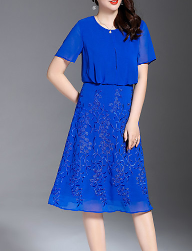Žene Osnovni Korice Haljina Jednobojni / Cvjetni print Midi