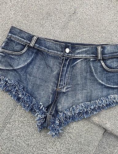 abordables Pantalons Femme-Femme Actif / Basique Grandes Tailles Quotidien Plage Jeans / Short Pantalon - Couleur Pleine Franges Taille haute Bleu XS S M / Sexy