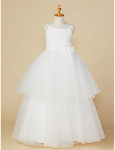 Prinzessin Boden-Länge Blumenmädchenkleid - Baumwolle / Tüll Ärmellos Riemen mit Blume durch LAN TING BRIDE®