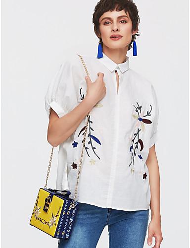 abordables Camisas y Camisetas para Mujer-Mujer Básico Algodón Camisa, Cuello Barco Un Color / Floral Blanco Tamaño Único / Verano