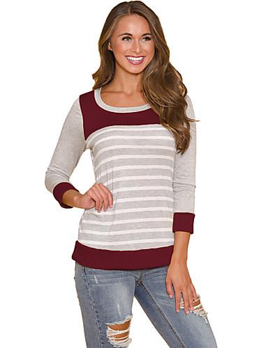 Randig / Färgblock T-shirt - Grundläggande Dam Rodnande Rosa L