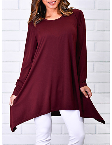 economico Maglie donna-T-shirt Per donna Tinta unita Cotone Blu