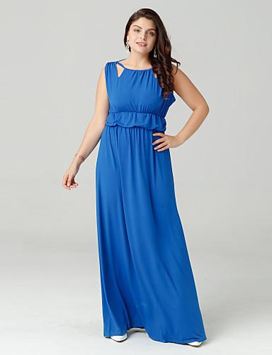 abordables Robes Femme-Femme Grandes Tailles Maxi Balançoire Robe Couleur Pleine Taille haute Eté Bleu Noir Rouge XXXXL XXXXXL XXXXXXL Manches Courtes