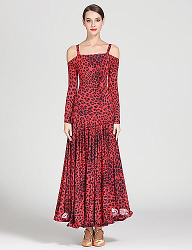 cheap Ballroom Dancewear-Ballroom Dance Dresses Women's Training / Performance Ice Silk Pattern / Print Long Sleeve High Dress