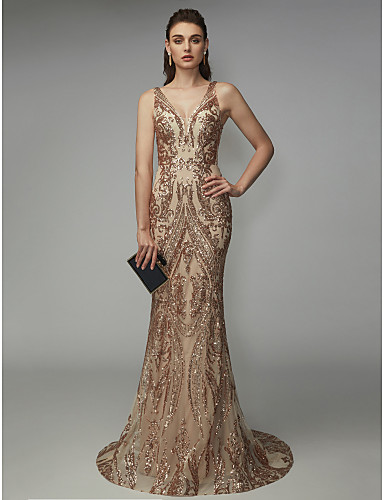 povoljno Sirena haljine-Sirena kroj V izrez Jako kratki šlep Sa šljokicama Sjaji i svijetli Formalna večer Haljina s Šljokice po TS Couture®
