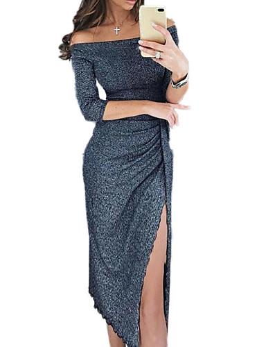 abordables Robes Femme-Femme Sortie Sexy Midi Mince Gaine Robe - Fendu, Couleur Pleine Epaules Dénudées Printemps Automne Noir Argent Vin L XL XXL Demi Manches