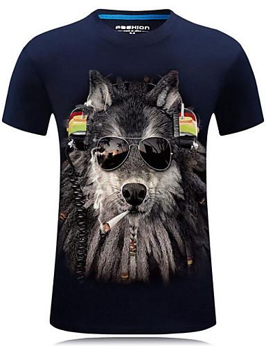1f0ed4186939 Ανδρικά Μεγάλα Μεγέθη T-shirt Κομψό στυλ street Ζώο Στρογγυλή Λαιμόκοψη  Στάμπα Λύκος Μαύρο XXXXL