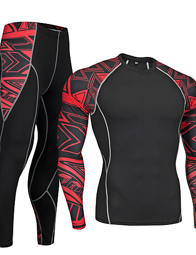 cheap Cycling Clothing-Nuckily Men's Long Sleeve Cycling Base Layer - Red Blue Bike Clothing Suit Quick Dry Sports Polyester Spandex Geometry Mountain Bike MTB Road Bike Cycling Clothing Apparel / Micro-elastic
