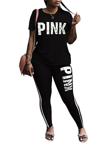 64e20b7fcdf Women s Tracksuit Red Blue Pink Sports Letter Spandex Tee   T-shirt Leggings  Clothing Suit Zumba Yoga Running Short Sleeve Plus Size Activewear  Breathable ...