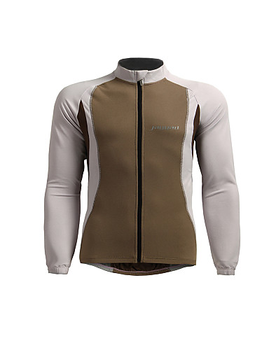 cheap Cycling Clothing-Jaggad Men's Long Sleeve Cycling Jersey - Silver Khaki Solid Color Bike Jersey Top Breathable Sports Nylon Elastic Mountain Bike MTB Road Bike Cycling Clothing Apparel / Stretchy