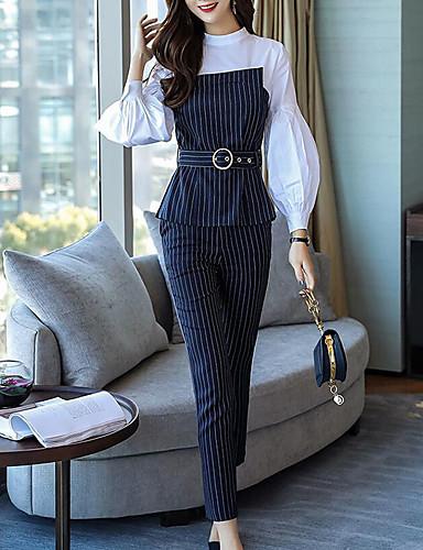 ราคาถูก เซตชุดทูพีซสำหรับผู้หญิง-สำหรับผู้หญิง แขนพอง Street Chic / Sophisticated ชุด - ลายแถบ กางเกง
