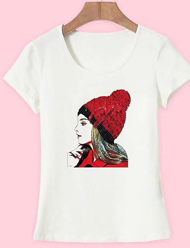 povoljno Ženske majice-Majica s rukavima Žene - Osnovni Dnevno / Izlasci Pamuk Portret Print Obala