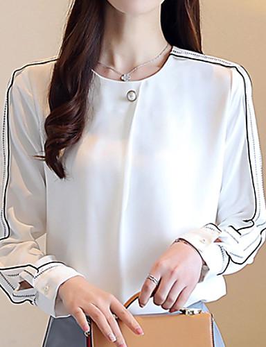 abordables Camisas y Camisetas para Mujer-Mujer Noche Blusa Delgado Un Color Blanco L