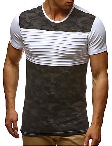 Hombre Activo / Chic de Calle Tallas Grandes Plisado - Algodón Camiseta, Escote Redondo Delgado A Rayas / Bloques Blanco XL / Manga Corta