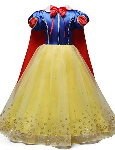 فستان ميدي كم قصير شريطة / شبكة ألوان متناوبة / كارتون مناسب للعطلات / مناسب للخارج حلو / لطيف للفتيات أطفال / قطن