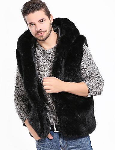 فرو رجالي أسود XL XXL XXXL Vest أساسي / أناقة الشارع لون سادة مع قبعة / بدون كم / الربيع / الشتاء