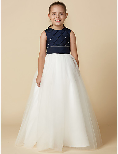 7e45bb87749 Princess Floor Length Flower Girl Dress - Satin   Tulle Sleeveless Jewel  Neck with Beading by LAN TING BRIDE®