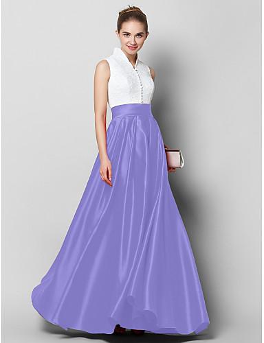 billige Feriekjoler-A-linje Høyhalset Gulvlang Blonder / Sateng Fargeblokk Formell kveld Kjole med Plissert av TS Couture®