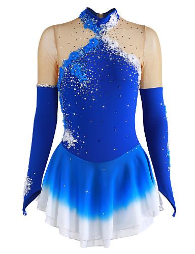 abordables Robe de Patinage-Robe de Patinage Artistique Femme Fille Patinage Robes Bleu Fleur Teinture Halo Spandex Compétition Tenue de Patinage Respirable Fait à la main Fleur Mode Manches Longues Patinage sur glace Patinage