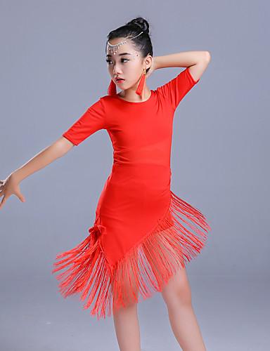 voordelige Shall We®-Latin dans Jurken Meisjes Prestatie Polyester Kwastje / Combinatie Halve mouw Hoog Kleding