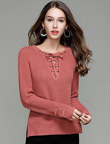 abordables Hauts pour Femmes-Femme Sortie Couleur Pleine Manches Longues Normal Pullover, Col en V Chameau / Vin / Vert Véronèse L / XL / XXL