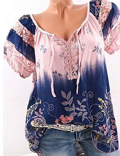 billige Dametopper-Båthals Store størrelser Skjorte Dame - Batikkfarget Vin XXXL / Sommer
