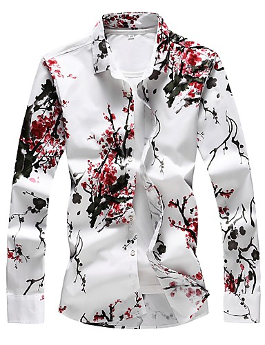 cheap $20-$25-Men's Daily Going out Basic Plus Size Cotton Slim Shirt - Floral Print Red / Long Sleeve
