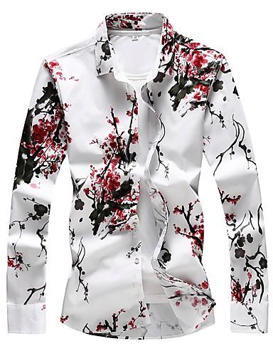 voordelige Herenoverhemden-Heren Standaard Print Grote maten - Overhemd Katoen Bloemen Slank Rood / Lange mouw
