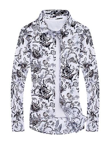 voordelige Herenoverhemden-Heren Actief Print Grote maten - Overhemd Geometrisch Wit / Lange mouw