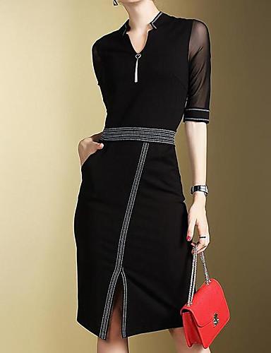 Mulheres Trabalho Delgado Vestidinho Preto Vestido Sólido Decote V Altura dos Joelhos