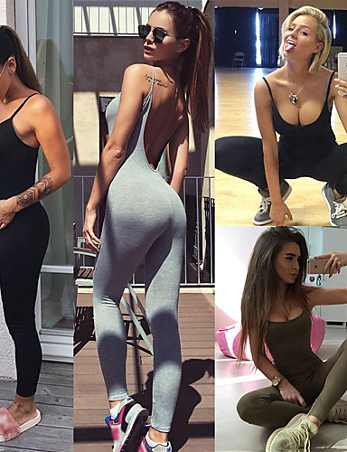 d7624bbfeb4 Women s Open Back Workout Jumpsuit Black Army Green Grey Sports Solid Color  Elastane Bodysuit Clothing Suit Zumba Dance Running Activewear Breathable  Quick ...