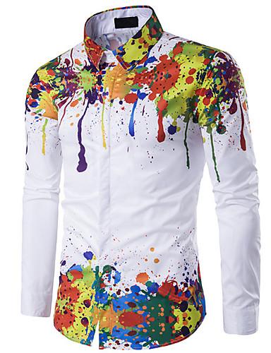 voordelige Herenoverhemden-Heren Vintagestijl Overhemd Regenboog Slank Regenboog / Lange mouw / Lente / Herfst / Winter