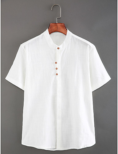 cheap Men's New Ins-Men's Daily Weekend Chinoiserie Linen Slim Shirt - Solid Colored Basic Standing Collar White XL / Short Sleeve / Summer