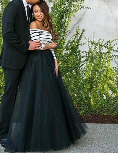 abordables Dessous de Robe de Mariage-Femme Maxi Balançoire Robe Couleur Pleine Noir & Blanc Eté Noir M L XL Manches 3/4