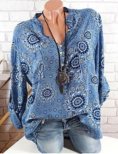 abordables Camisas y Camisetas para Mujer-Mujer Básico Noche Camisa, Escote en Pico Floral Blanco XXXL