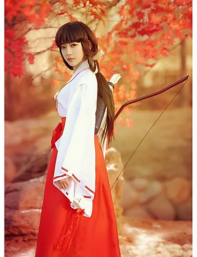 """billige Anime Kostymer-Inspirert av InuYasha Kikyo Anime  """"Cosplay-kostymer"""" Cosplay Klær / Japansk Kimono Ensfarget Langermet Topp / Bukser Til Dame"""