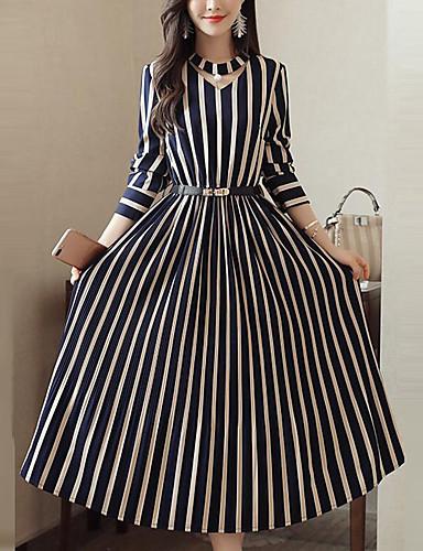 voordelige Maxi-jurken-Dames Grote maten Feest Werk Street chic Verfijnd Recht Wijd uitlopend Jurk - Gestreept Midi Blauw & Wit Zwart & Rood Zwart & Wit / Sexy