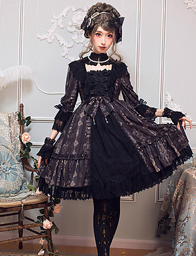 رخيصةأون Lolita فساتين-القوطية لوليتا كلاسيكي أنيق انثى فساتين تأثيري أسود / بني كم مضيئة 3/4 الكم طول الركبة ميدي ازياء