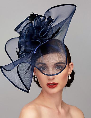 billige Hatte & Imponeringer-Fjær / Nett Kentucky Derby Hat / fascinators / Hodeplagg med Fjær / Blomster / Blomst 1pc Bryllup / Spesiell Leilighet Hodeplagg