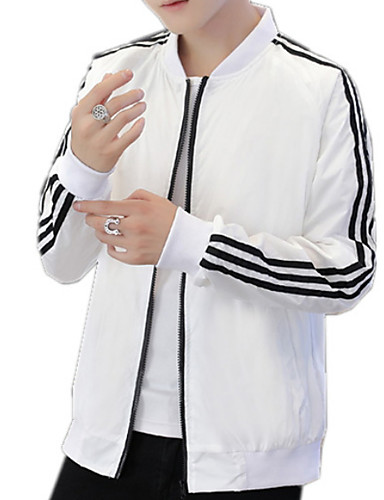cheap Men's Jackets & Coats-Men's Daily Basic Fall & Winter Regular Jacket, Solid Colored Round Neck Long Sleeve Polyester White / Black / Red XXL / XXXL / 4XL