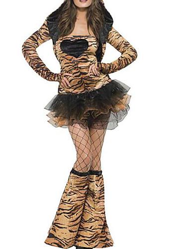 billige Cosplay og kostumer-Kat Kjoler Voksne Dame Sexet Halloween Halloween Karneval Maskerade Festival / Højtider Plys Stof Brun Dame Karneval Kostume Leopardtryk